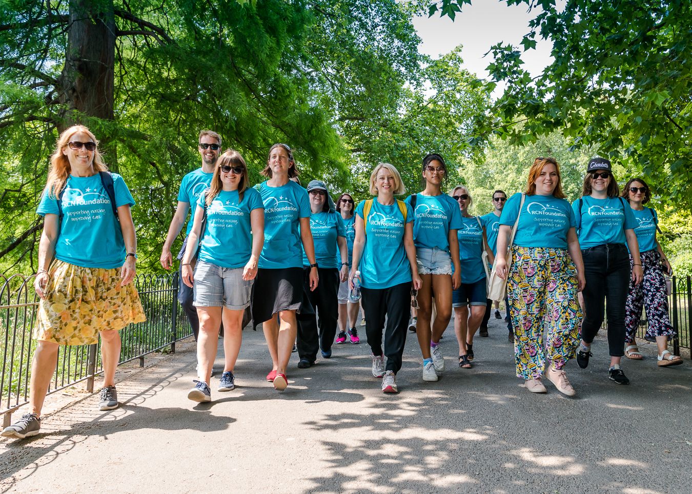 fundraisers walking during an event